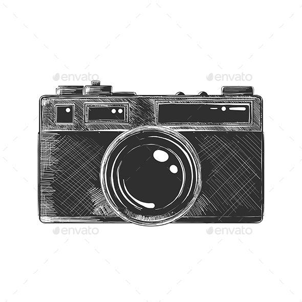Hand Drawn Sketch of Camera in Monochrome - Retro Technology