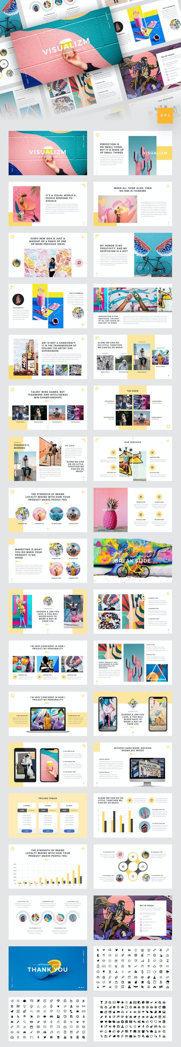 Visualizm - Pop Art & Graffiti Google Slides Template - Google Slides Presentation Templates