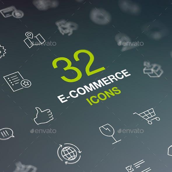 Shopping Thin Line Icon Set. Web Store, Market, Shop