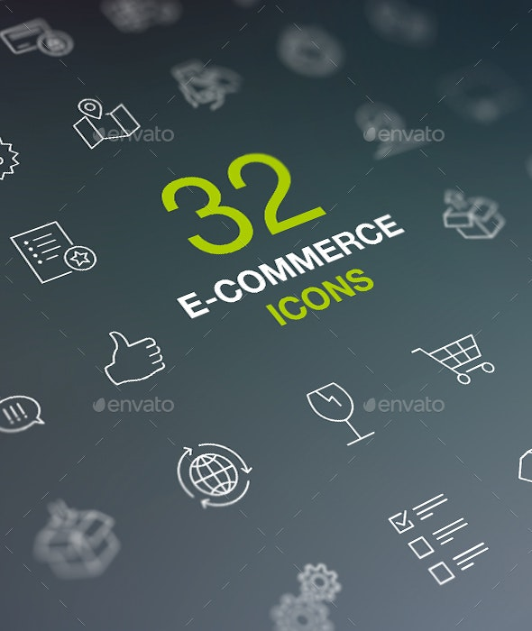 Shopping Thin Line Icon Set. Web Store, Market, Shop - Business Icons