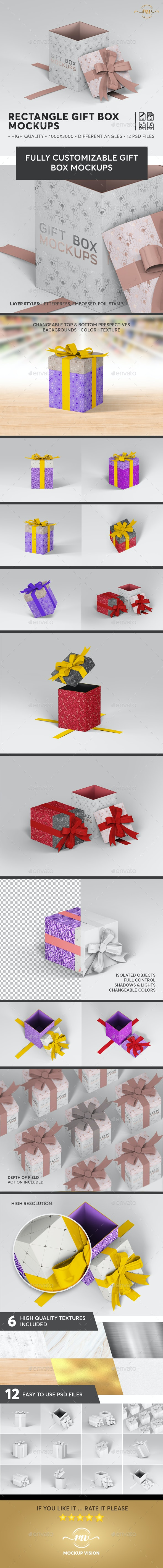 Gift Box Rectangle Mockups V.2 - Miscellaneous Packaging