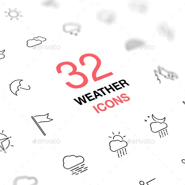Weather Forecast. Thin Line Web Icons Collection.