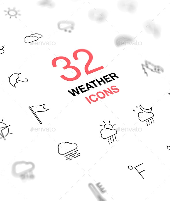 Weather Forecast. Thin Line Web Icons Collection. - Miscellaneous Icons