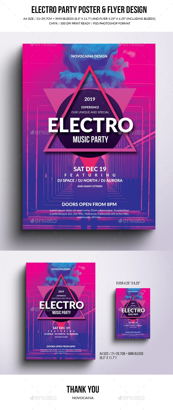 Electro Party Poster & Flyer Design - Clubs & Parties Events
