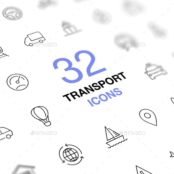 Transport Icons. Transportation Concept Thin Line Vector Icon Set.