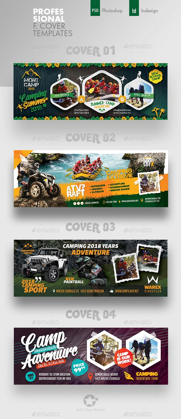 Camping Adventure Cover Bundle Templates - Facebook Timeline Covers Social Media