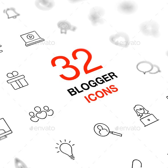 Social Media Isolated Vector Icon Set. Blog, Blogger, Vlog Concept.
