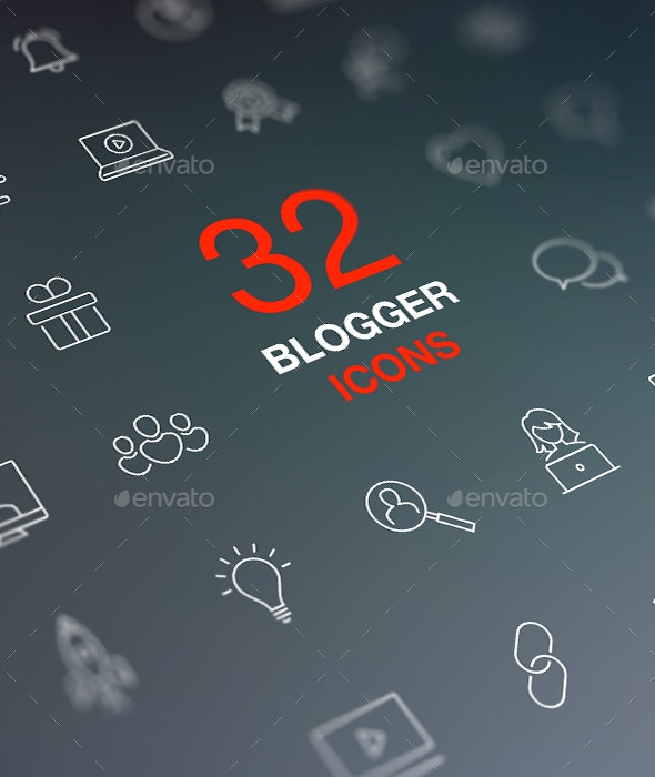 Blogging, Social Media Icon Set in Flat Modern Design Style. - Media Icons