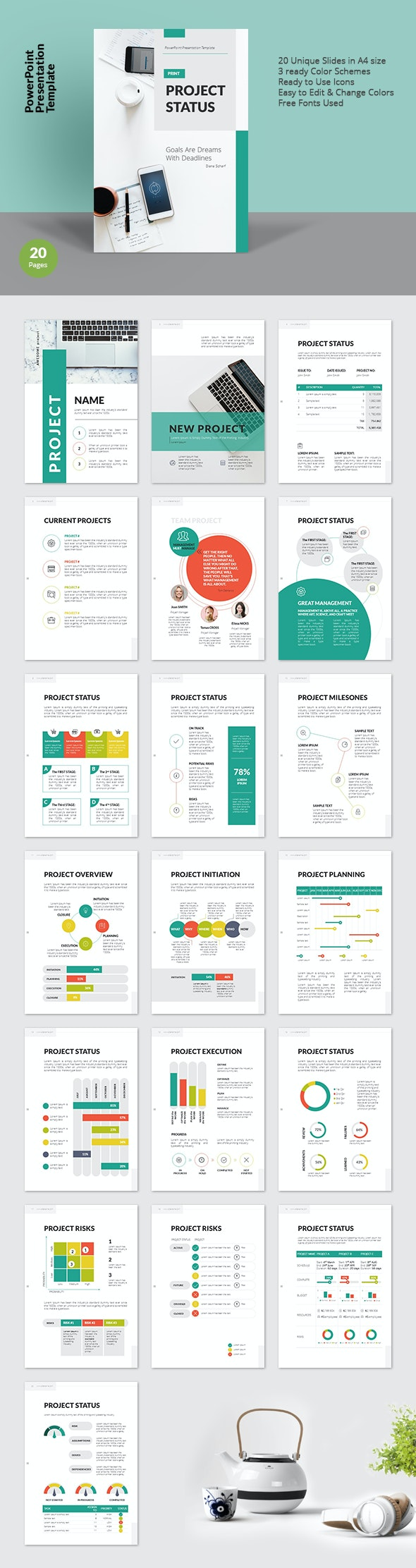 A4 Project Status PowerPoint Presentation Template for Print - PowerPoint Templates Presentation Templates