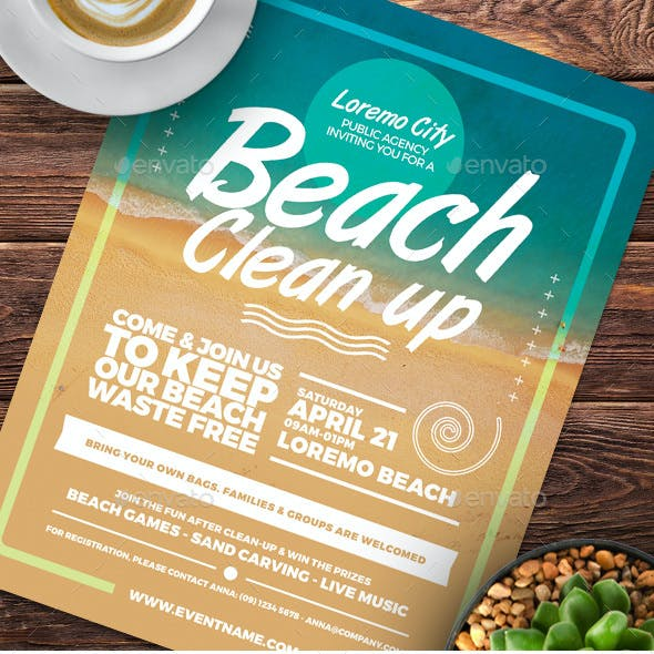 Beach Clean Up Flyer Templates