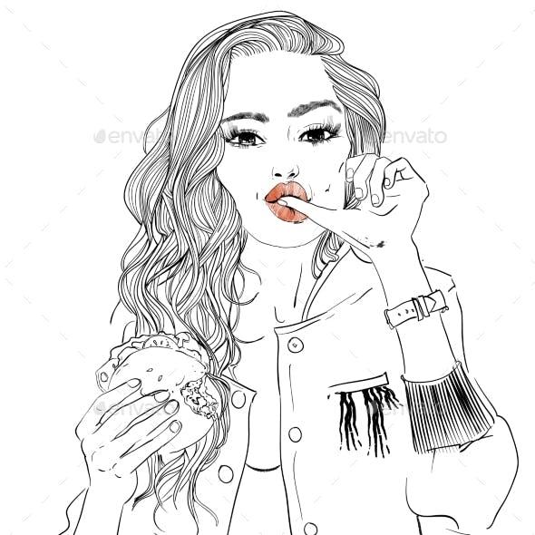 Portrait of Young Woman Portrait with Burger