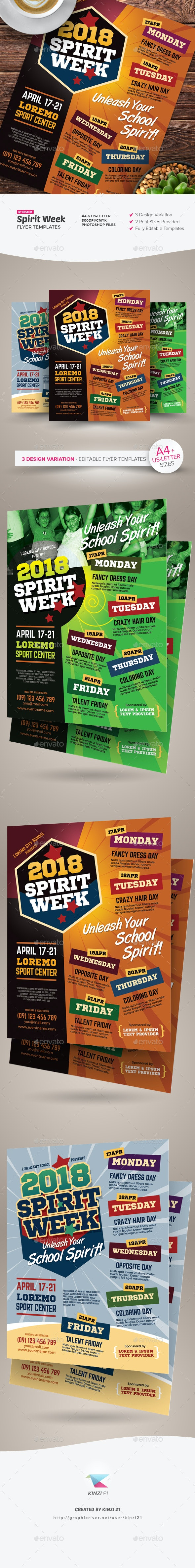 Spirit Week Flyer Templates - Miscellaneous Events