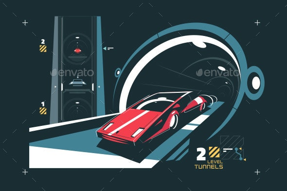 Car in Tunnel with Map of Traffic - Miscellaneous Vectors