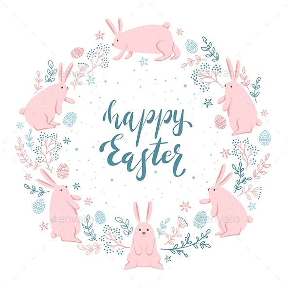 Card with Easter Rabbits and Eggs on White Background