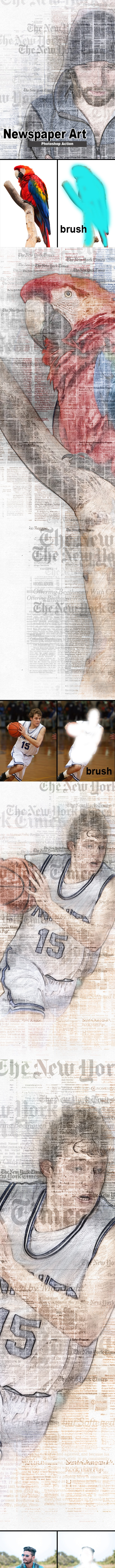 Amazing Newspaper Art Photoshop Action - Photo Effects Actions