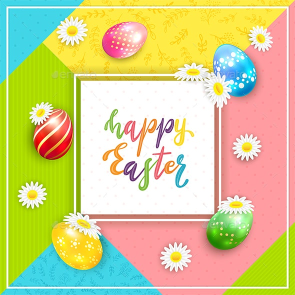 Card on Colorful Background with Lettering Happy Easter and Eggs - Miscellaneous Seasons/Holidays