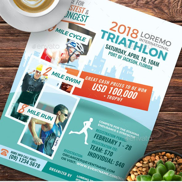 Triathlon Event Flyer and Poster Templates