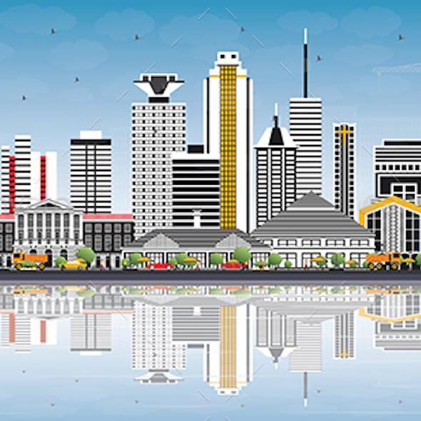 Nairobi Kenya City Skyline with Color Buildings