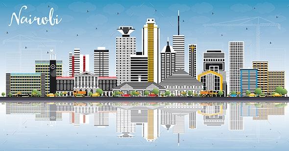 Nairobi Kenya City Skyline with Color Buildings - Buildings Objects