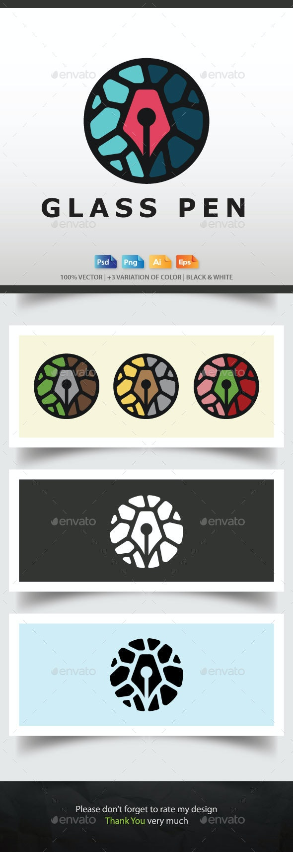 Sustained Glass Pen Logo Template - Abstract Logo Templates
