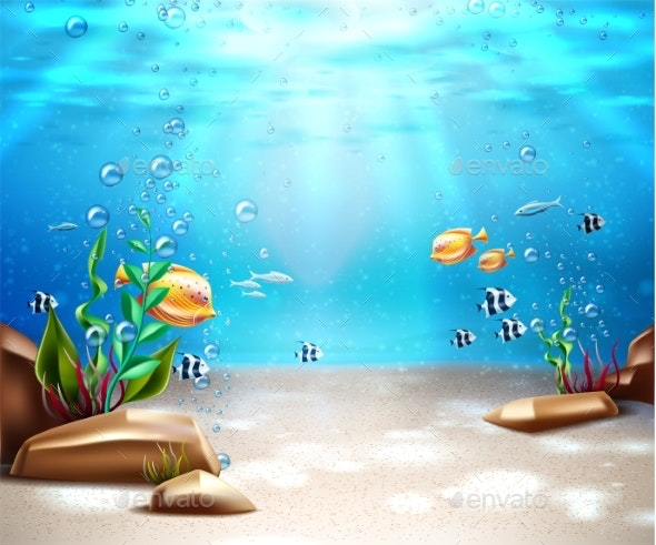 Vector Underwater Life Sea Bottom Scene Background - Nature Conceptual