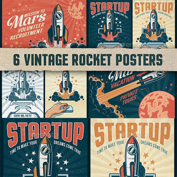 6 Vintage Rocket Posters