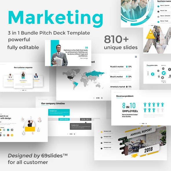 Marketing Assessment 3 in 1 Pitch Deck Bundle Google Slide Template