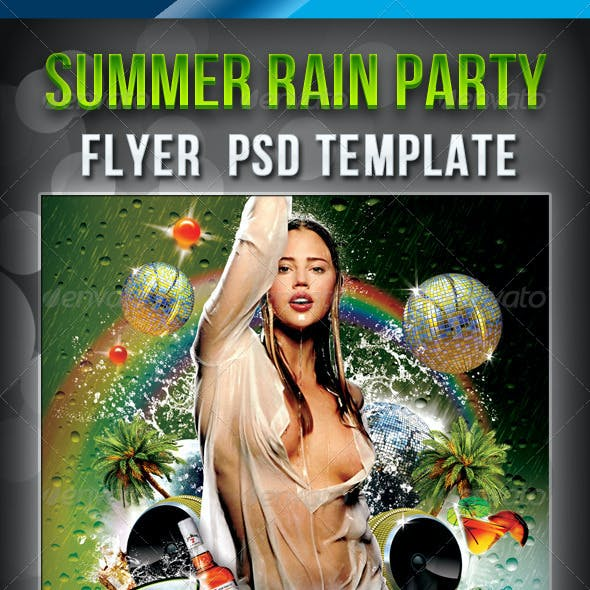 Summer Rain Party Flyer Psd Template
