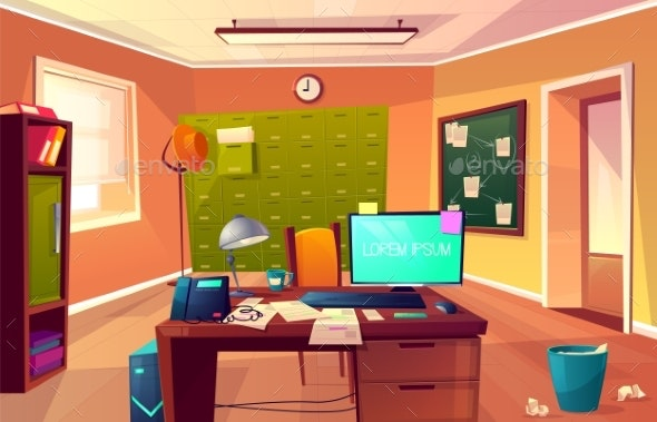 Vector Cartoon Cabinet of Private Detective - Backgrounds Decorative