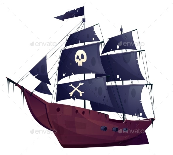 Vector Cartoon Pirate Ship - Man-made Objects Objects