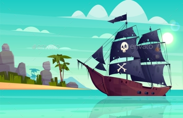 Vector Cartoon Pirate Ship in Bay Island - Man-made Objects Objects