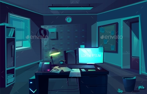 Vector Cabinet of Private Detective at Night - Backgrounds Decorative
