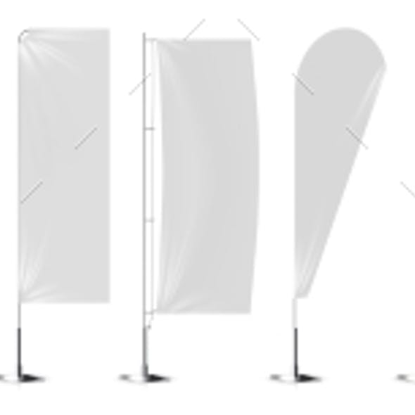 Realistic White Banner Flags Mockup
