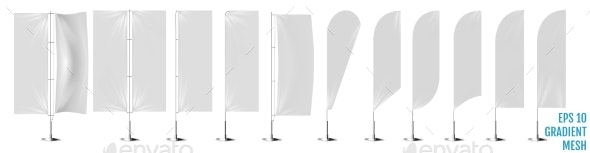 Realistic White Banner Flags Mockup - Man-made Objects Objects