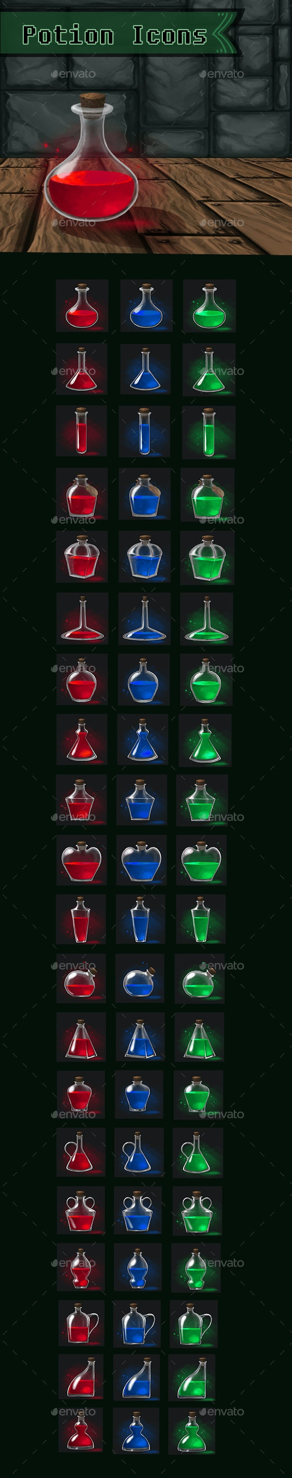 60 Potion icons - Miscellaneous Game Assets