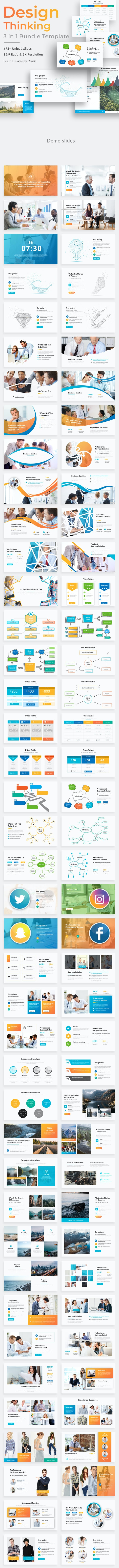 Design Thinking 3 in 1 Pitch Deck Bundle Powerpoint Template - Business PowerPoint Templates