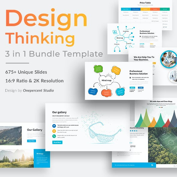Design Thinking 3 in 1 Pitch Deck Bundle Powerpoint Template