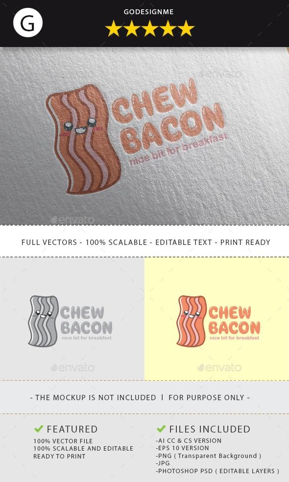 Chew Bacon Logo Design - Vector Abstract