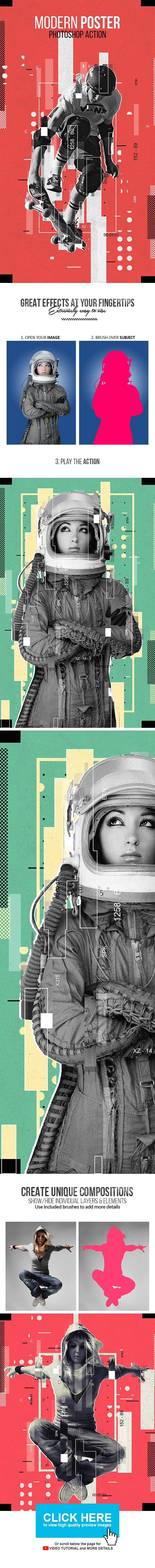 Modern Poster Photoshop Action - Photo Effects Actions
