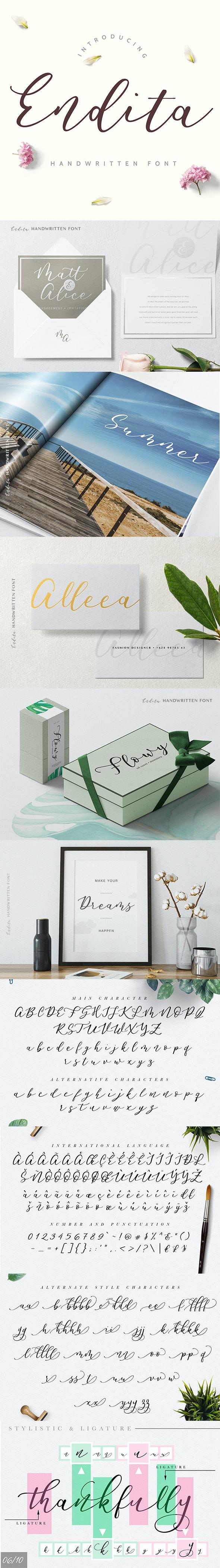 Endita - Handwritten Font - Hand-writing Script