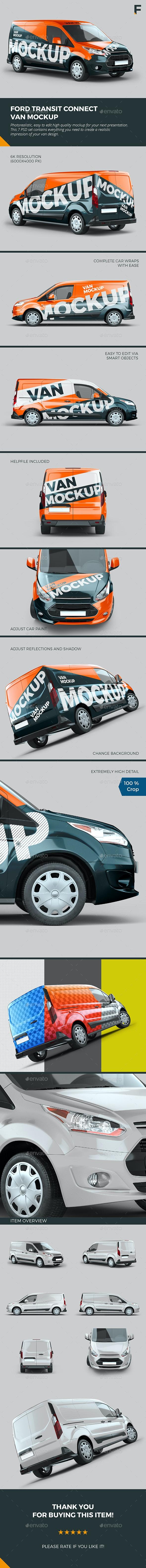Ford Transit Connect Van Mock up - Vehicle Wraps Print