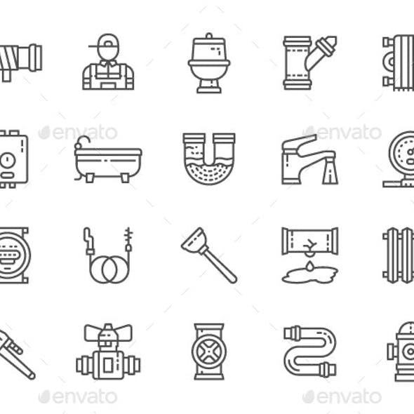 Set Of Plumbing Line Icons  Pack Of 64x64 Pixel Icons by studicon