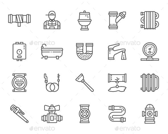 Set Of Plumbing Line Icons. Pack Of 64x64 Pixel Icons - Objects Icons