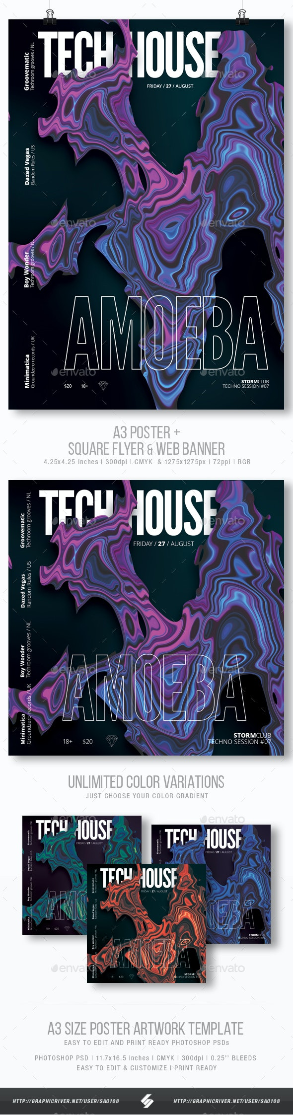 Tech-house Amoeba - Club Party Flyer / Poster Template A3 - Clubs & Parties Events