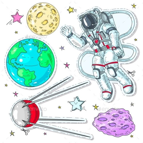 Colorful Icon Stickers of Astronaut Spaceman - Miscellaneous Vectors
