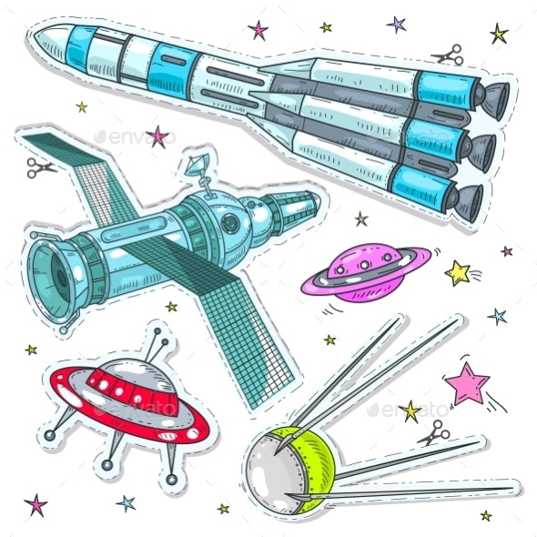 Vector Illustration Comic Style Space Icons - Miscellaneous Vectors