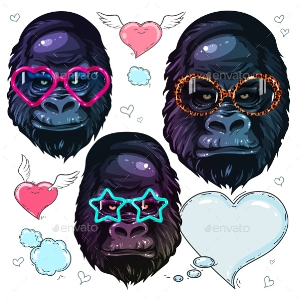 Vector Set of Fashion Gorilla Portraits - Miscellaneous Vectors
