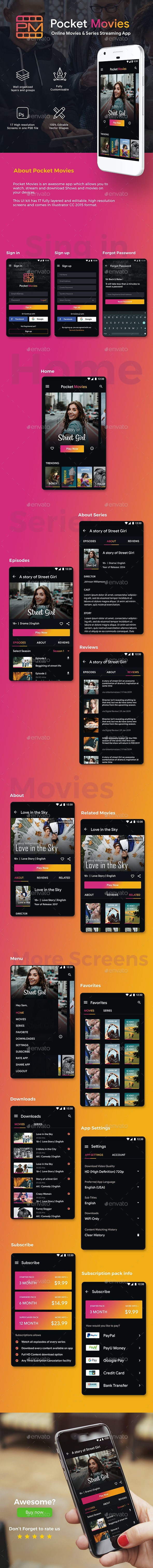 Online Movie, TV show & Video Streaming App UI Kit | Pocket Movies - User Interfaces Web Elements