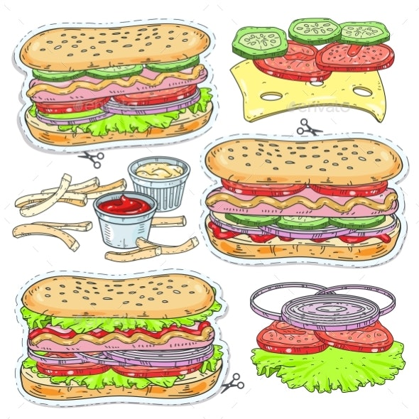 Vector Sticker Icons of Hot Dogs - Food Objects