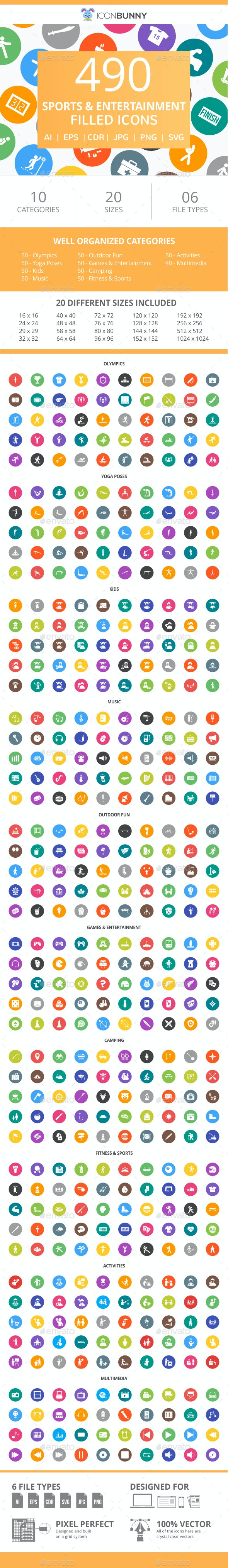 490 Sports & Entertainment Filled Round Icons - Icons